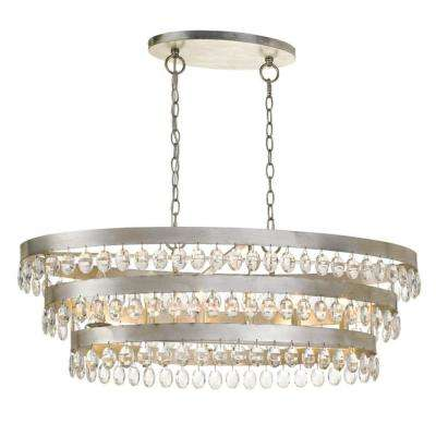 Crystorama Perla 6 Light Antique Silver Cage Chandelier 6107 Sa The Home Depot
