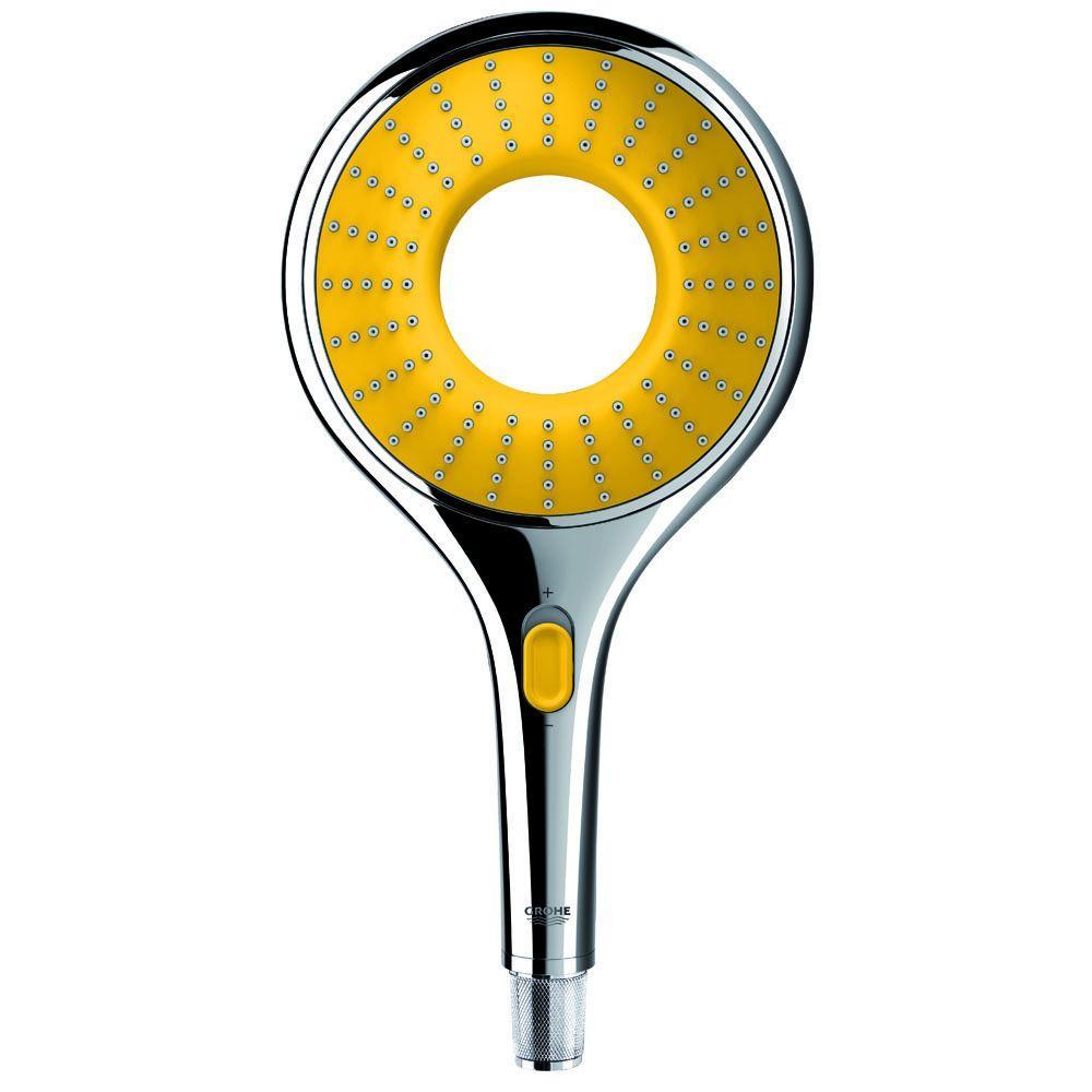 1-Spray 5.8 in. Single Wall Mount Handheld Rain Shower Head in Starlight Chrome/Yellow