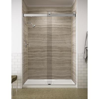 Levity 59 in. x 82 in. Frameless Sliding Shower Door in Silver with Handle
