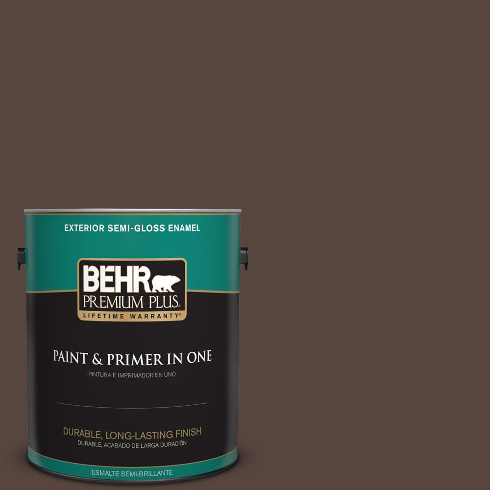 BEHR Premium Plus 1-gal. #PMD-91 Iced Espresso Semi-Gloss Enamel Exterior Paint