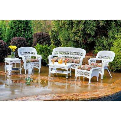 Portside White 6-Piece Wicker Patio Seating Set with Zoe Citrus Cushions