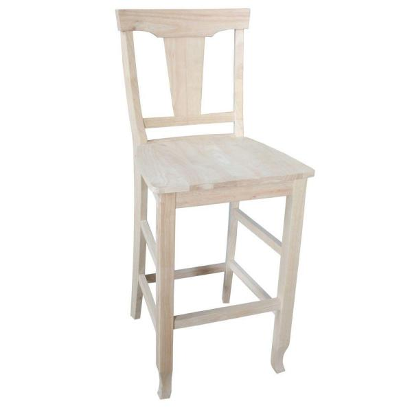 International Concepts Arlington 29.9 in. Unfinished Wood Bar Stool S-1103