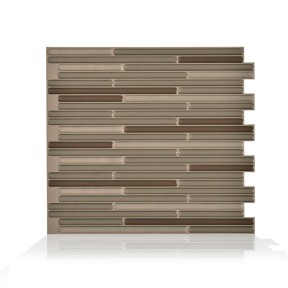 smart tiles Loft Maronne 10.20 in. W x 9.10 in. H Peel and Stick Self-Adhesive Mosaic Wall Tile Backsplash (4-Pack), Brown was $32.49 now $12.02 (63.0% off)