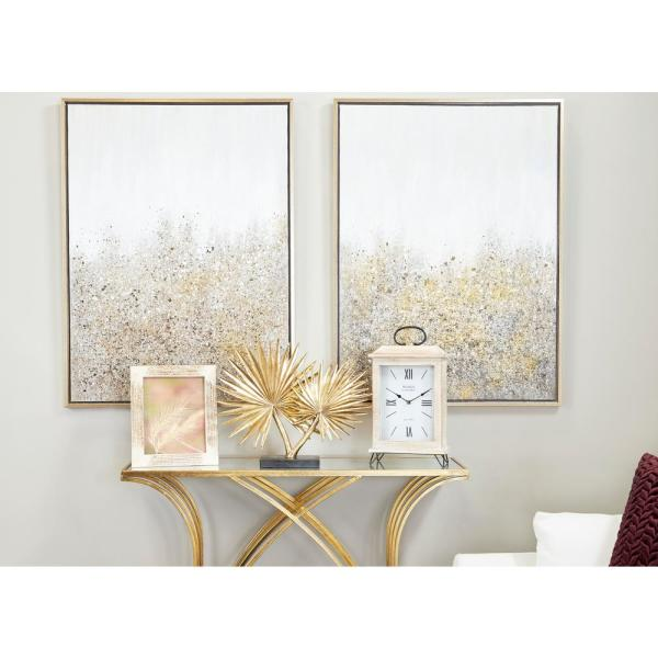 Large Metallic Gold Fan Palm Leaf Sculpture Table Decor on Rectangular Stand