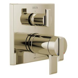 Ara 2-Handle Wall-Mount Valve Trim Kit with 6-Setting Integrated Diverter in Polished Nickel (Valve not Included)