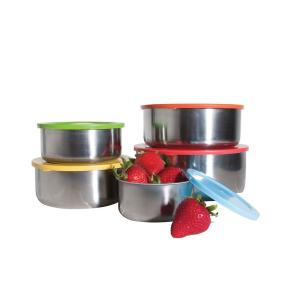 10-Piece Stainless Steel Food Containers with Colored Lids by