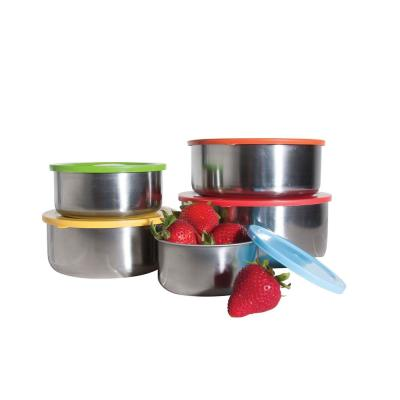 10-Piece Stainless Steel Food Containers with Colored Lids