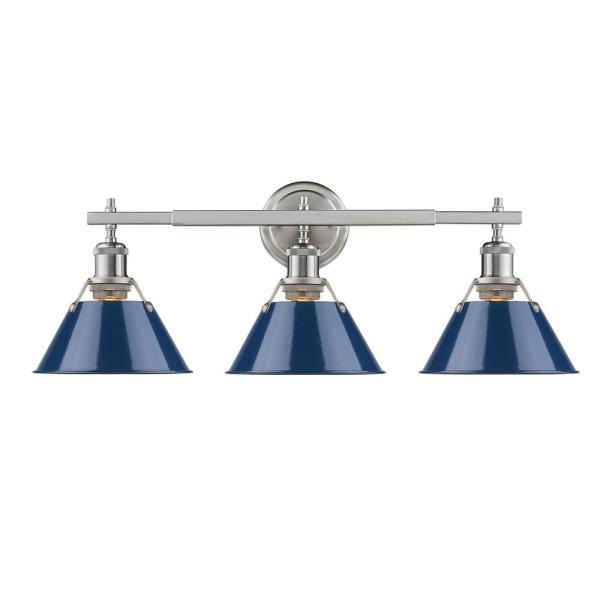 Orwell PW 3-Light Pewter Bath Light with Navy Blue Shade