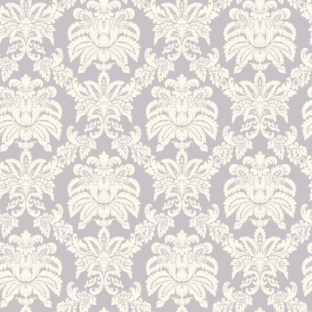 The Wallpaper Company 56 sq. ft. Purple Pastel Sweeping Damask Wallpaper