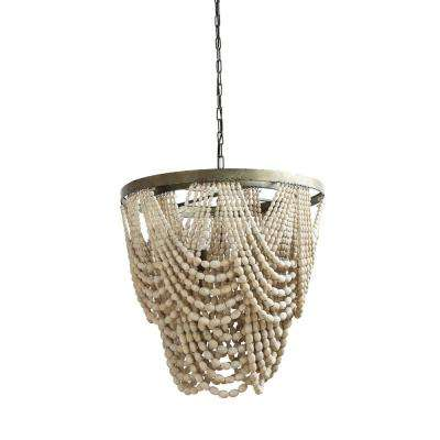 Mint and Mist 3-Light Natural Beaded Chandelier