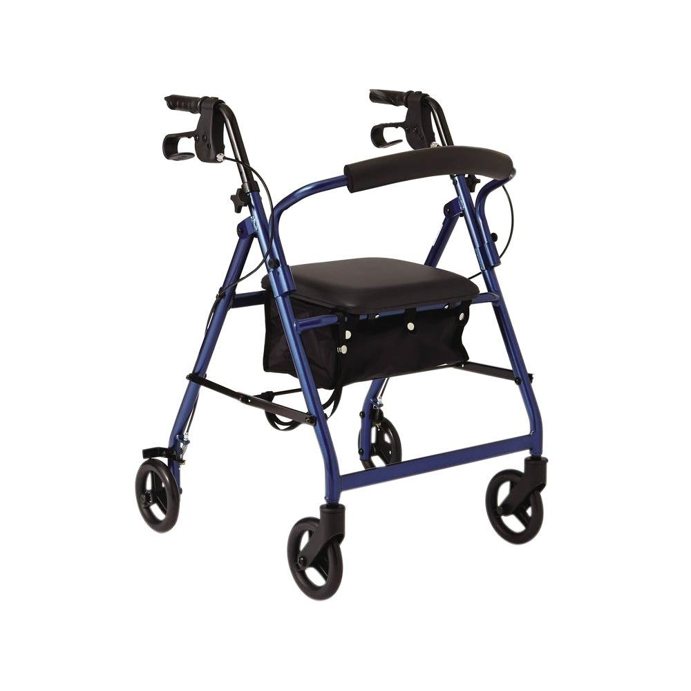 Medline Aluminum Lightweight Folding 4-Wheel Rollator in Blue