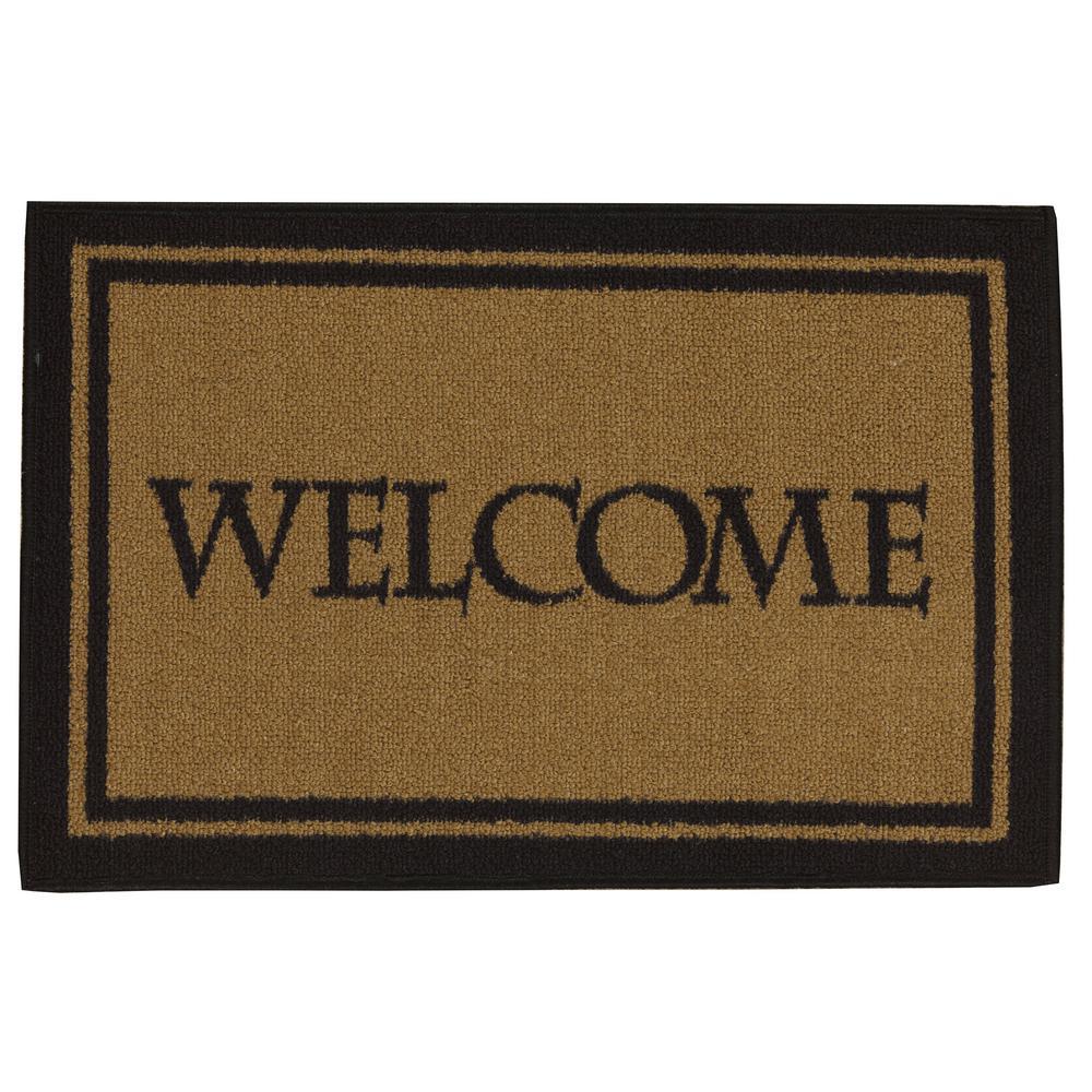 Doormat Collection Rectangular Dark Beige Welcome Bordered 20 in. x 30 in. Door Mat