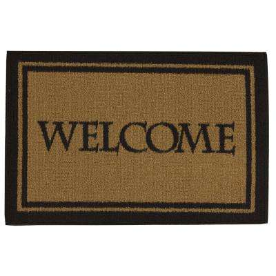 Doormat Collection Rectangular Dark Beige Welcome Bordered 20 in. x 30 in. Door Mat