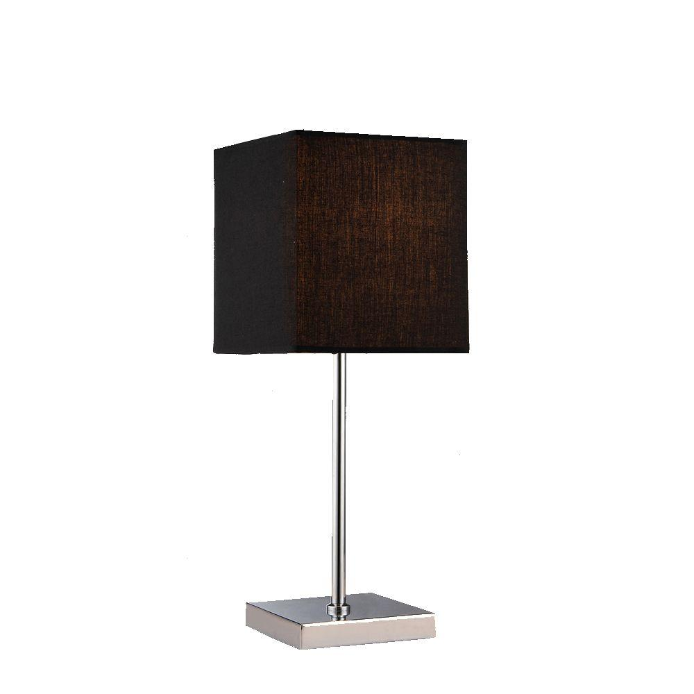 Chrome Indoor Table Lamp With Black Fabric Shade