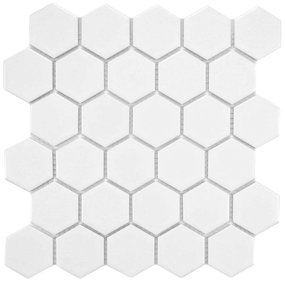 Merola Tile Metro Hex 2 in. Matte White 10-1/2 in. x 11 in. x 5 mm Porcelain Mosaic Floor and Wall Tile