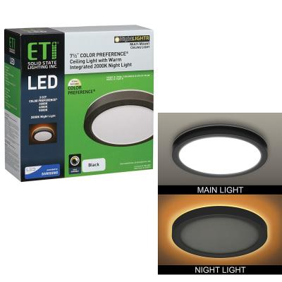 7.5 in. Black Round Color Selectable CCT LED Flush Mount with Night Light Feature Ceiling Light 800 Lumens