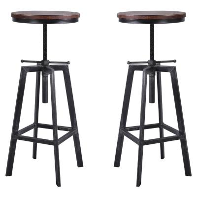Thomas Adjustable Silver Brushed Gray Barstool (Set of 2)