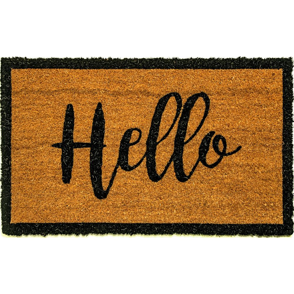 Dynamic Rugs Vale Hello Ivory Black 18 In X 30 In Door Mat