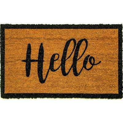 Vale Hello Ivory/Black 18 in. x 30 in. Door Mat
