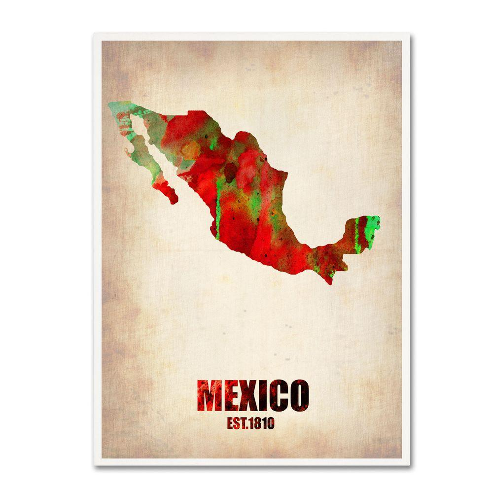 19 in. x 14 in. Mexico Watercolor Map Canvas Art