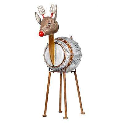 Metallic Barreled Reindeer with Warm White LED Lights, Indoor or Outdoor Festive Holiday Decoration