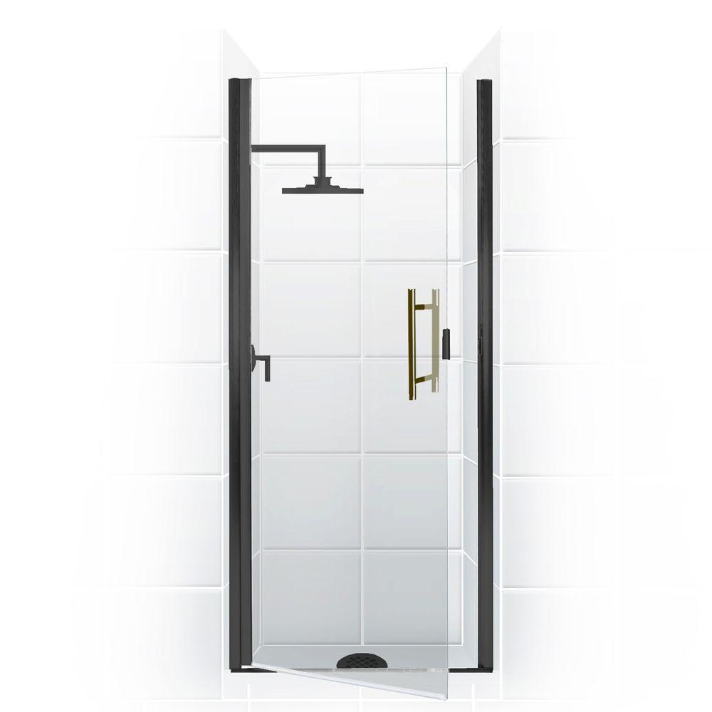 Coastal Shower Doors Paragon Series 26 in. x 74 in. Semi-Framed Continuous Hinge Shower Door in Oil Rubbed Bronze with Clear Glass