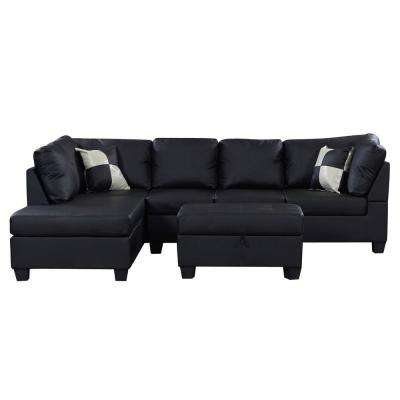 Cool Linford Black Leatherette Sectional Dailytribune Chair Design For Home Dailytribuneorg