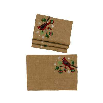 0.1 in. H x 19 in. W x 13 in. D Cardinal Noel Peace Joy Jute Christmas Placemats (Set of 4)