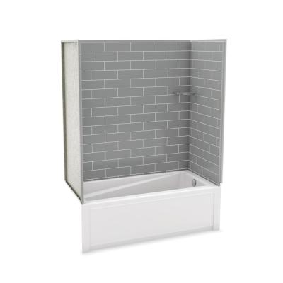 Utile Metro 32 in. x 60 in. x 81 in. Bath and Shower Kit with New Town Right Hand Drain in Ash Grey