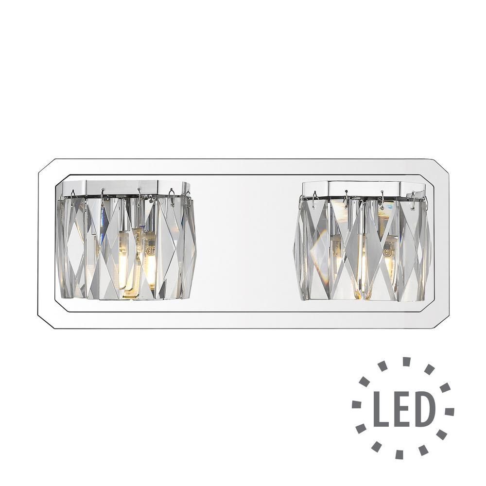 Krysta 2-Light Chrome Bath Light