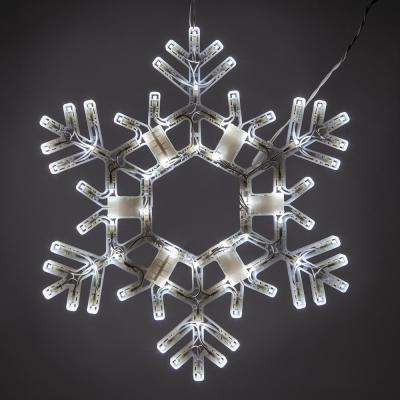 20 in. 70-Light LED Cool White Folding Snowflake Decoration