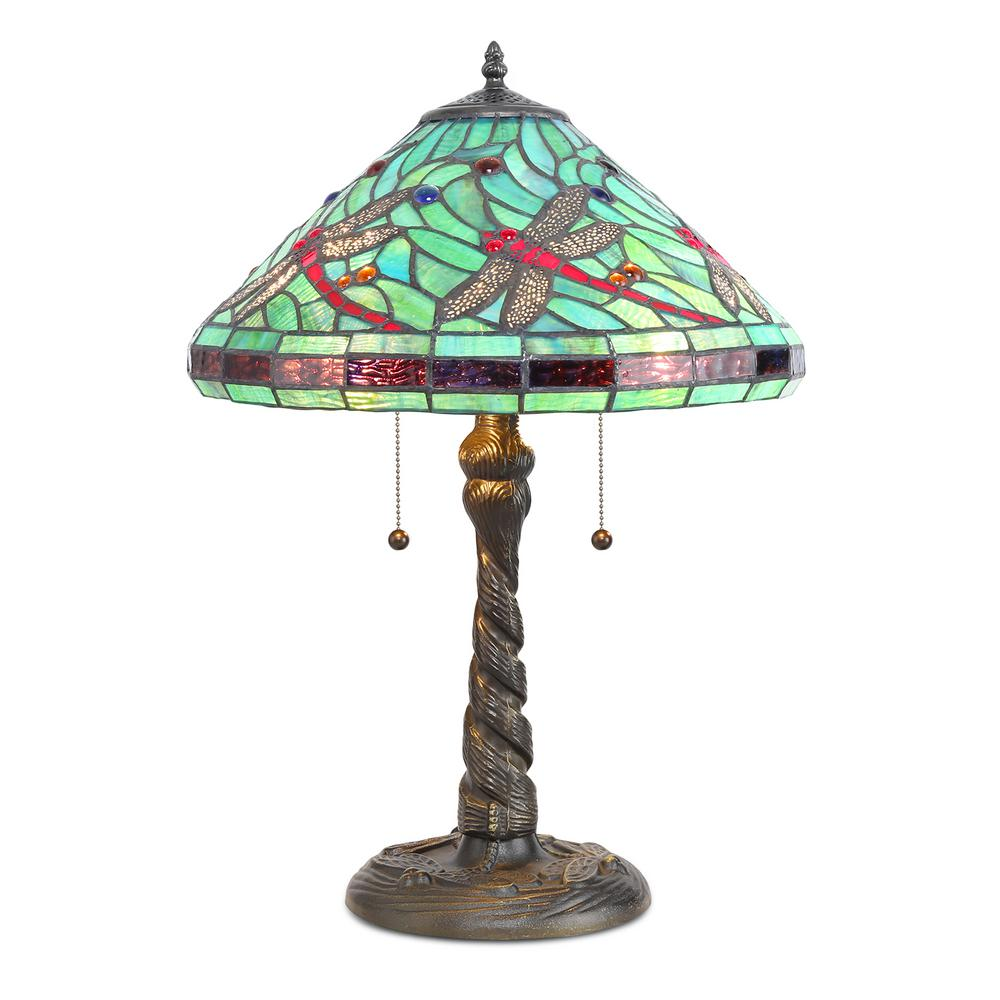 Tiffany Turquoise Dragonfly 23 in. Bronze Table Lamp