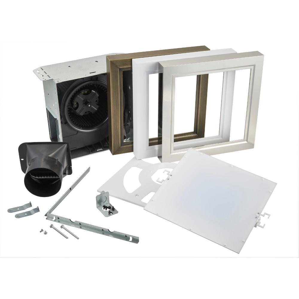 Roomside Decorative 110 CFM Ceiling Bathroom Exhaust Fan with Square LED Panel and Easy Change Trim, ENERGY STAR