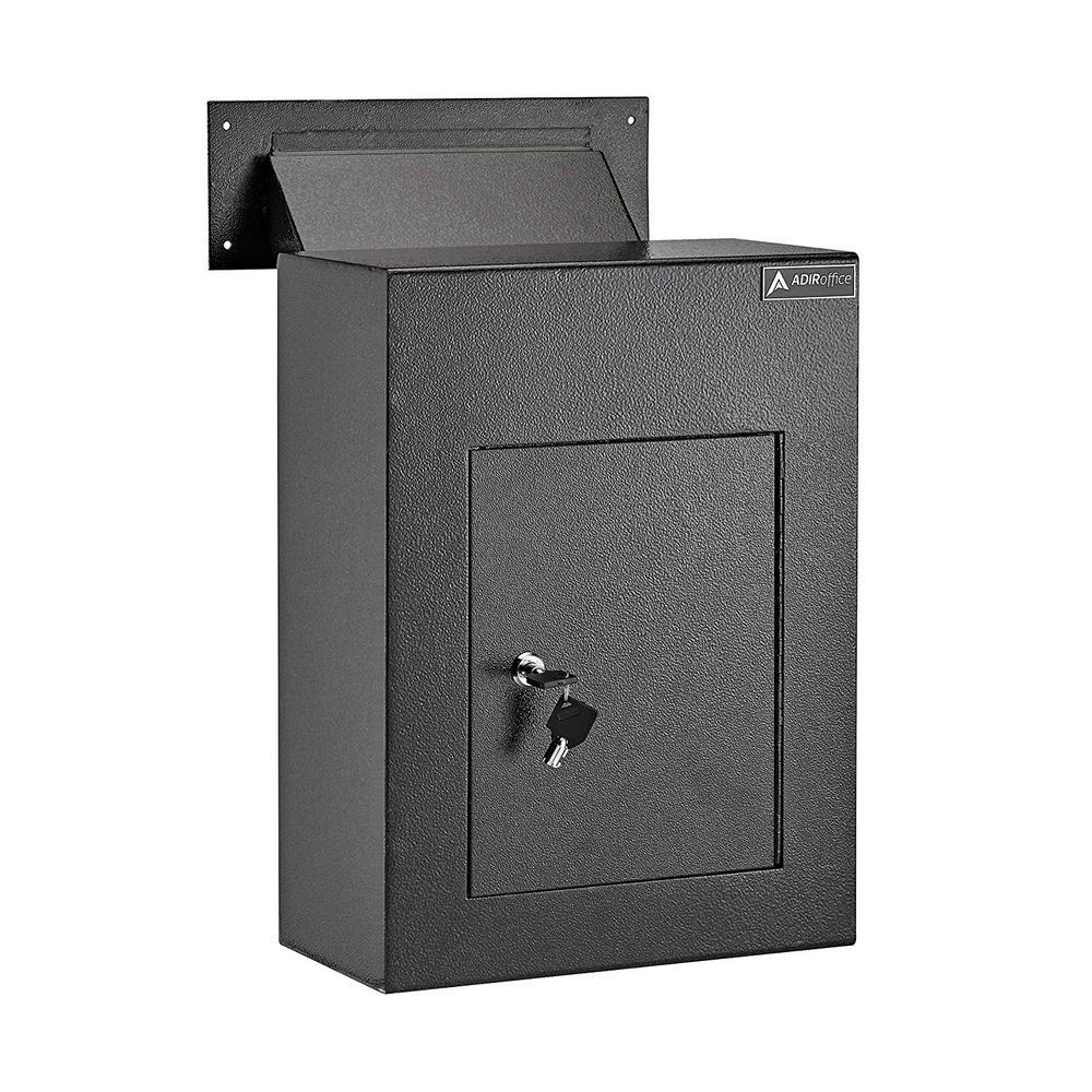 AdirOffice Black Steel Through the Wall Drop Box with Adjustable Chute Mail Receptacle