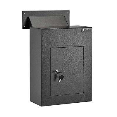 Black Steel Through the Wall Drop Box with Adjustable Chute Mail Receptacle
