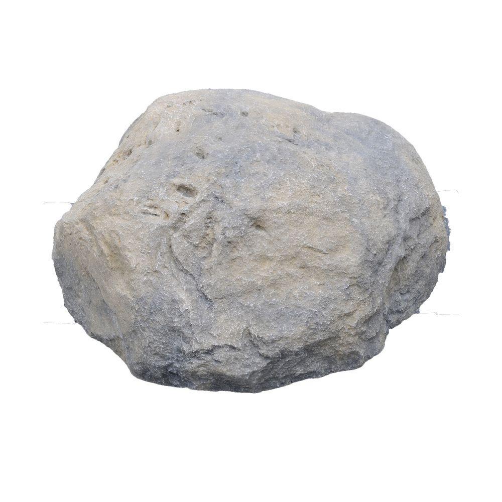 Fiber-Lite 47 in. x 41 in. x 22 in. High, Granite Grey Boulder Fiberglass Hollow Stone-DISCONTINUED