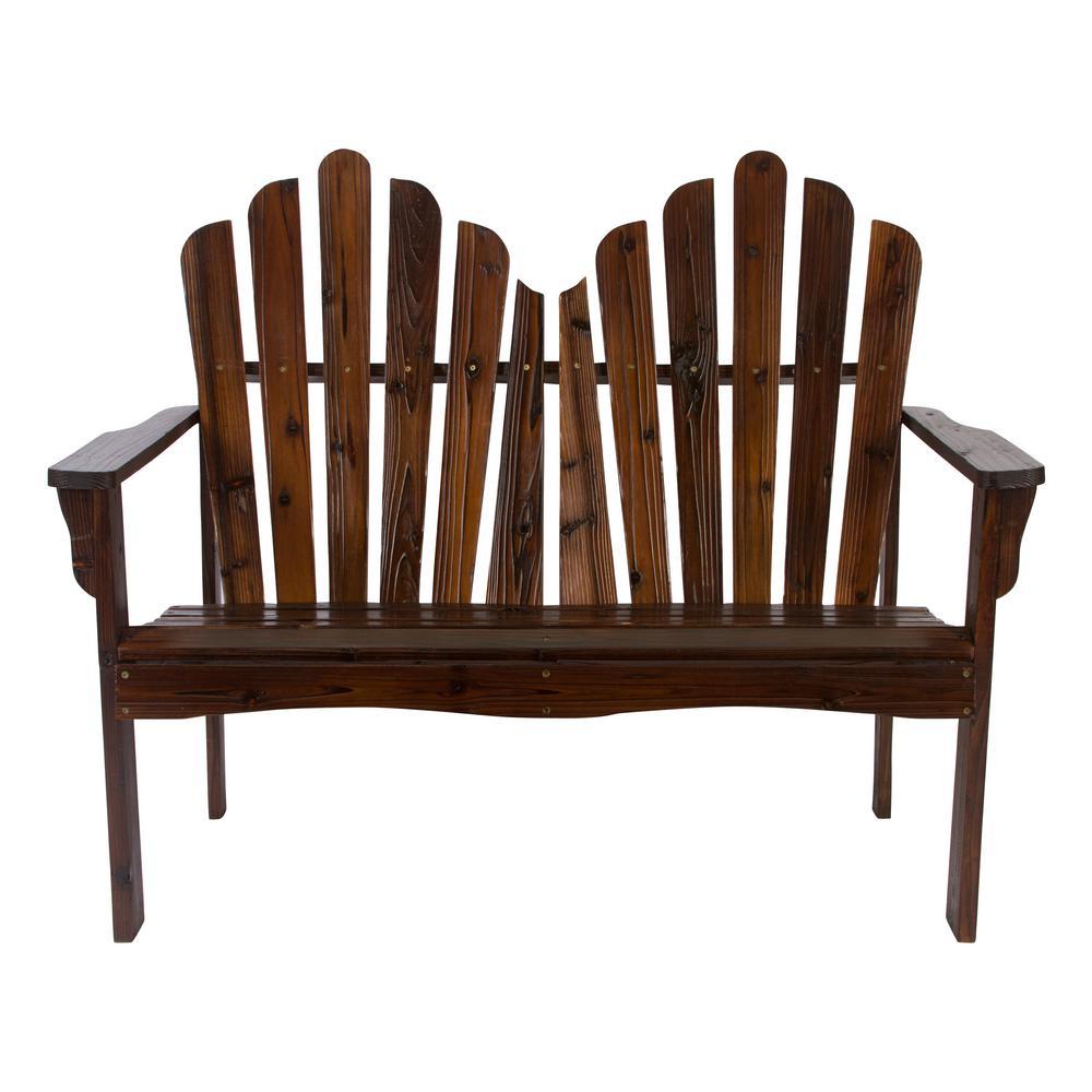Westport Cedar Wood Outdoor Loveseat Bench 43.50 in. - Burnt Brown