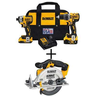 20-Volt MAX XR Lithium-Ion Cordless Brushless Combo Kit (2-Tool) with Bonus Bare Cordless 6-1/2 in. Circular Saw