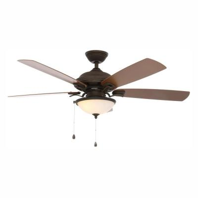 North Lake 52 in. LED Indoor/Outdoor Oil Rubbed Bronze Ceiling Fan with Light Kit