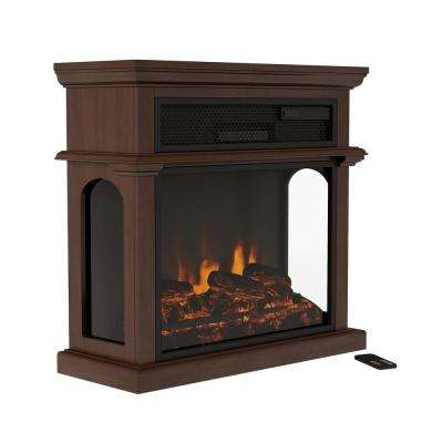 29 in. Freestanding Electric Fireplace with Mantel in Brown
