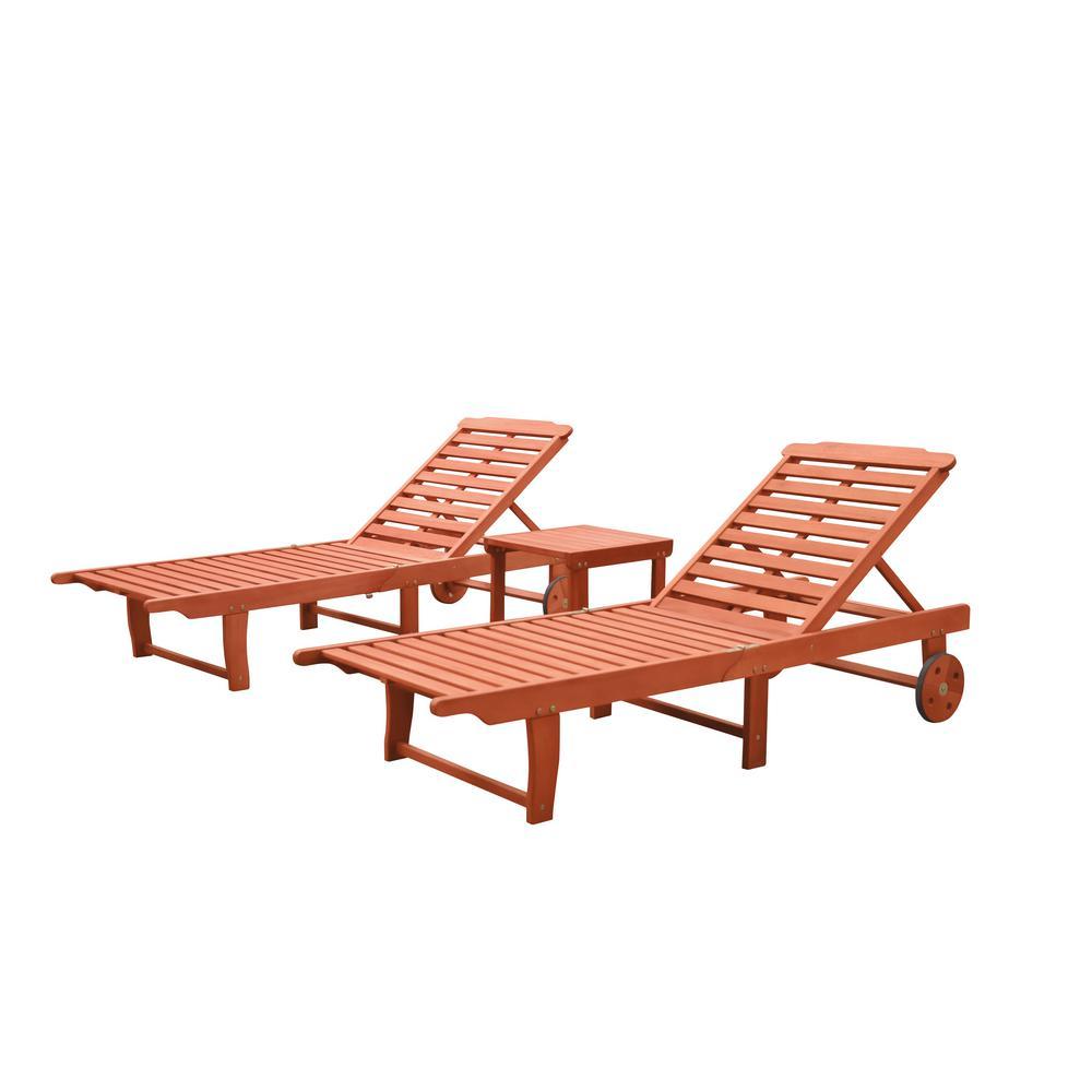 Vifah Malibu 3 Piece Wood Outdoor Chaise Lounge V1802set2 The Home Depot