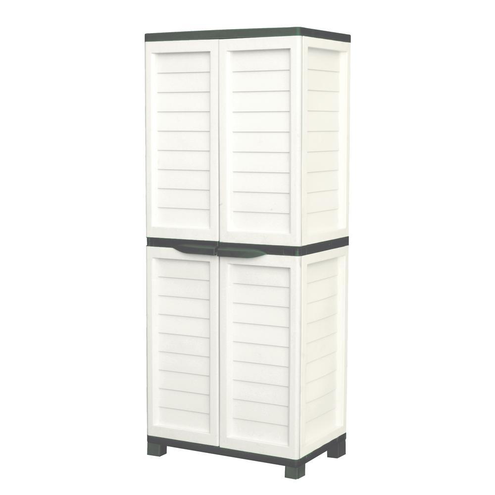 Starplast 2 Ft 5 In X 1 8 9 Plastic Beige Green Storage Cabinet With 4 Shelves