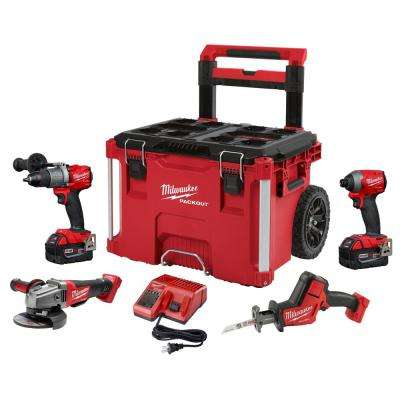 M18 FUEL 18-Volt Lithium-Ion Brushless Cordless Combo Kit (4-Tool) with Two 5.0 Ah Batteries & PACKOUT Rolling Tool Box
