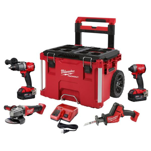 Milwaukee M18 FUEL 18-Volt Lithium-Ion Brushless Cordless Combo Kit (4-Tool) with Two 5.0 Ah Batteries & PACKOUT Rolling Tool Box