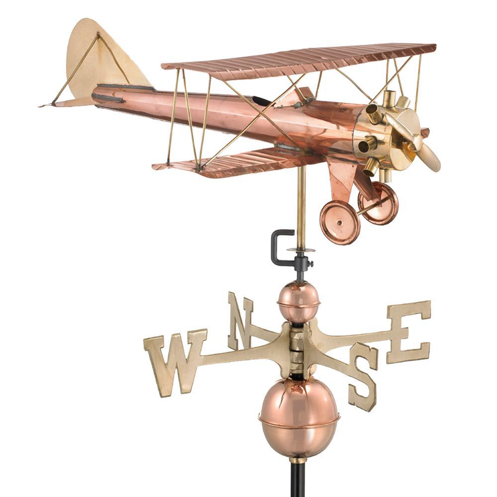 Biplane Weathervane - Pure Copper