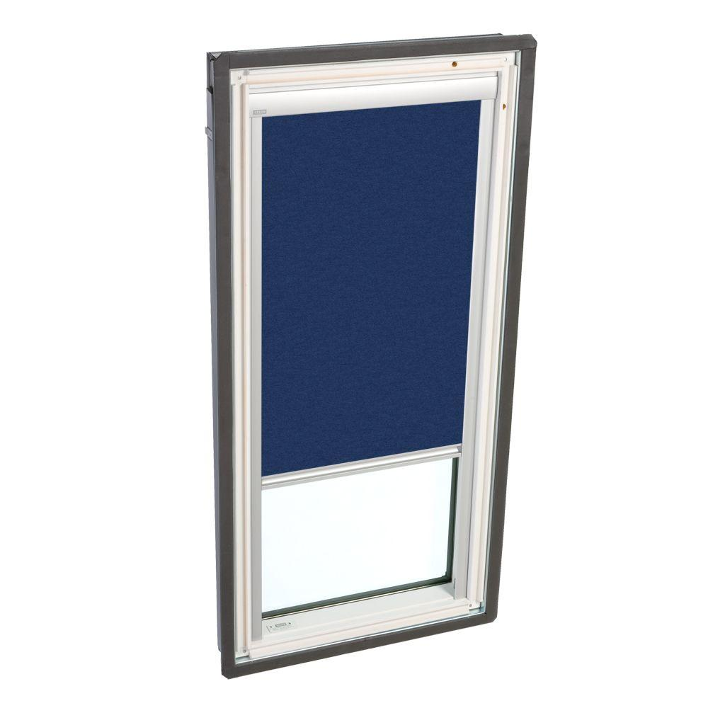 VELUX Truss Series 22-1/2 x 45-3/4 in. Fixed Deck-Mount Skylight LowE3 Glass Dark Blue Solar Light Filter Blinds-DISCONTINUED
