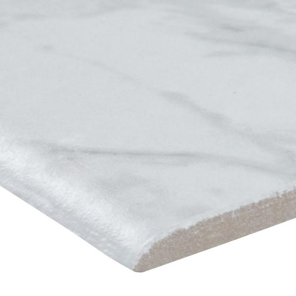 Trevi White 3 in. x 18 in. Polished Porcelain Bullnose Wall Tile (10 pieces / case)