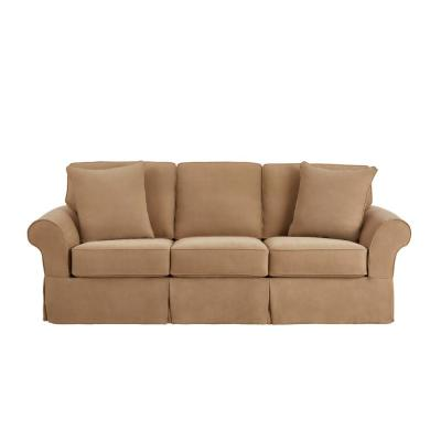 Hillbrook Essence Camel Beige Straight Slipcovered Sofa (87.5 in. W x 36.5 in. H)