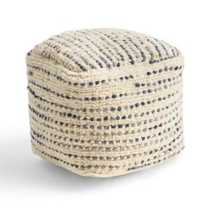 Calzona Ivory and Blue Cube Ottoman Pouf