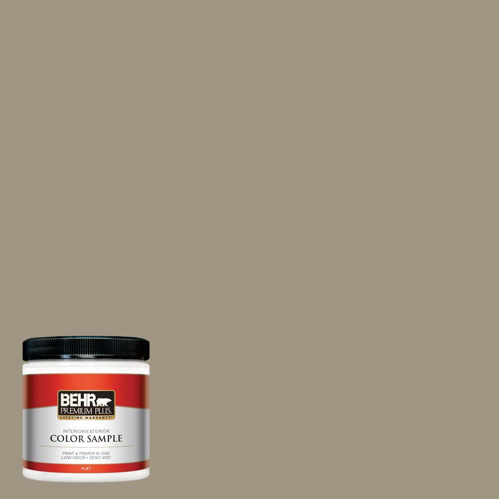 8 oz. #BNC-24 Shadow Taupe Flat Interior/Exterior Paint and Primer in